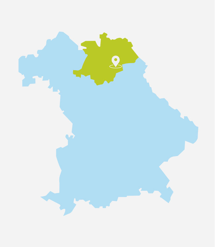 Oberfranken in der Bayernkarte